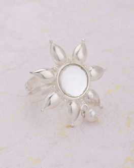 Rings Pearl Embellished Dainty Fl Finger Ring